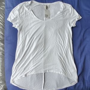 H&M White T-shirt Hi-low hem Size Small